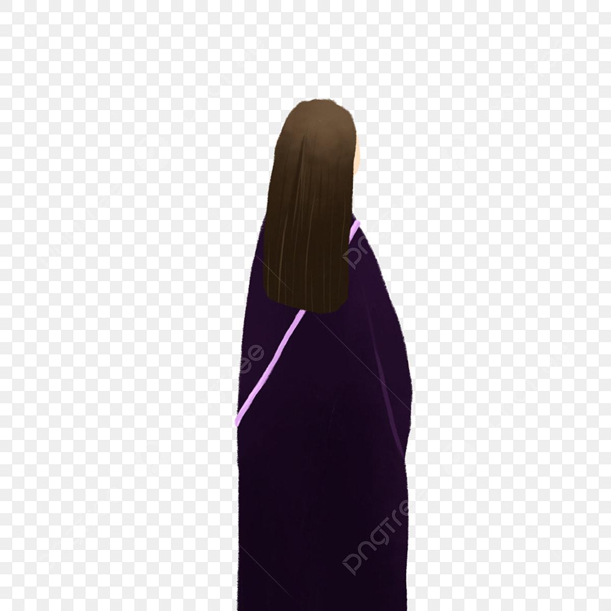 Fille De Dessin Animé Fille De Cheveux Longs Fille Vue De