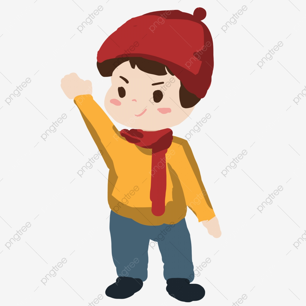 Hand Painted Cute Little Boy Wearing A Hat, Lovely, Children, Wear Ones Hat;  Put On Ones Hat; Pin The Label On Sb PNG Transparent Clipart Image and PSD  File for Free Download