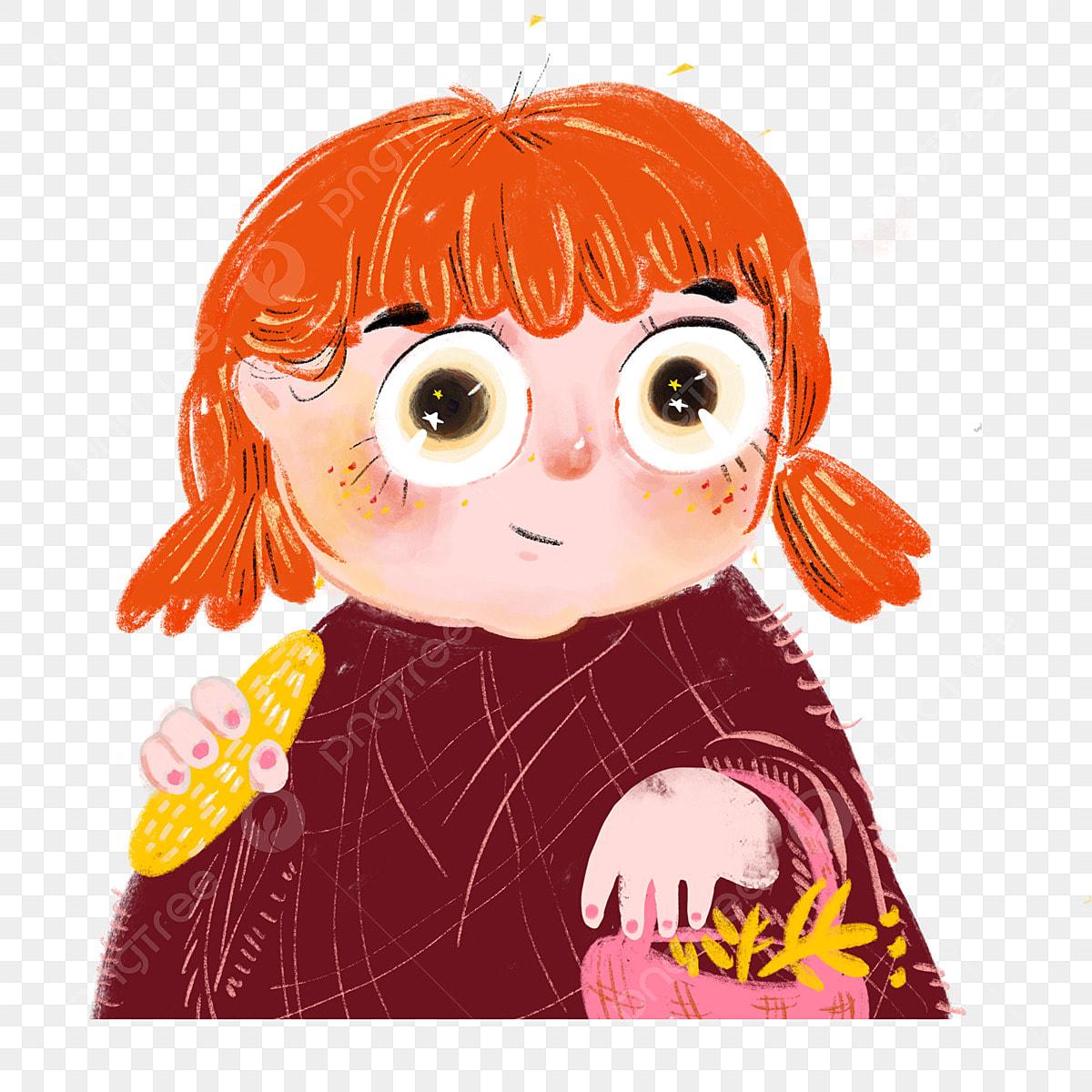 Cute Girl With Big Eyes Picking Flowers Cartoon Girl Orange
