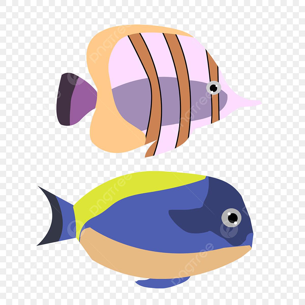 Ocean Biru Ikan Mudah Hidupan Laut Rumpai Laut Kartun Ikan Mudah