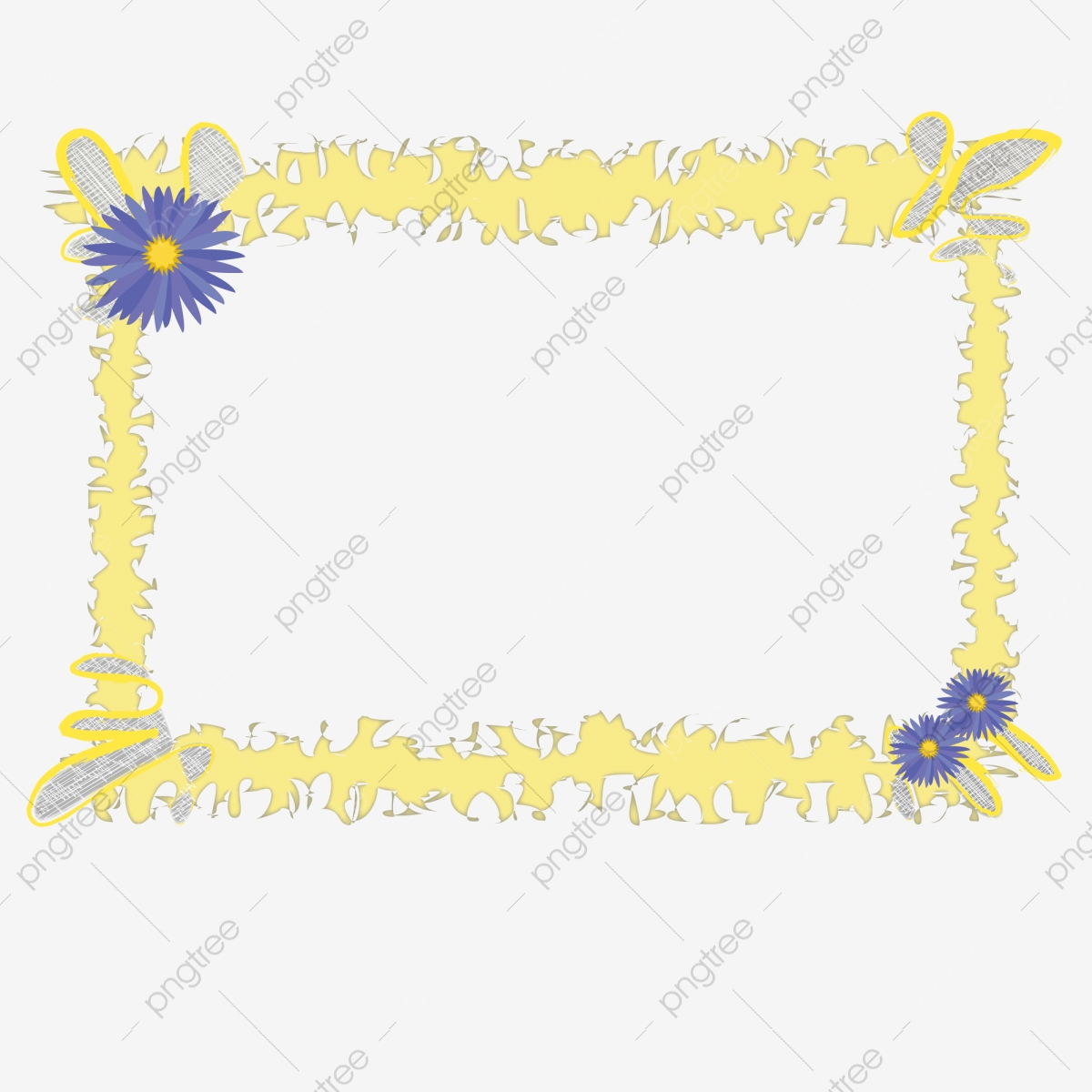 Hand Drawn Cartoon Borders And Flowers Free Illustration Cartoon Border And Blue Flowers Beautiful Border Cartoon Illustration Png And Vector With Transparent Background For Free Download