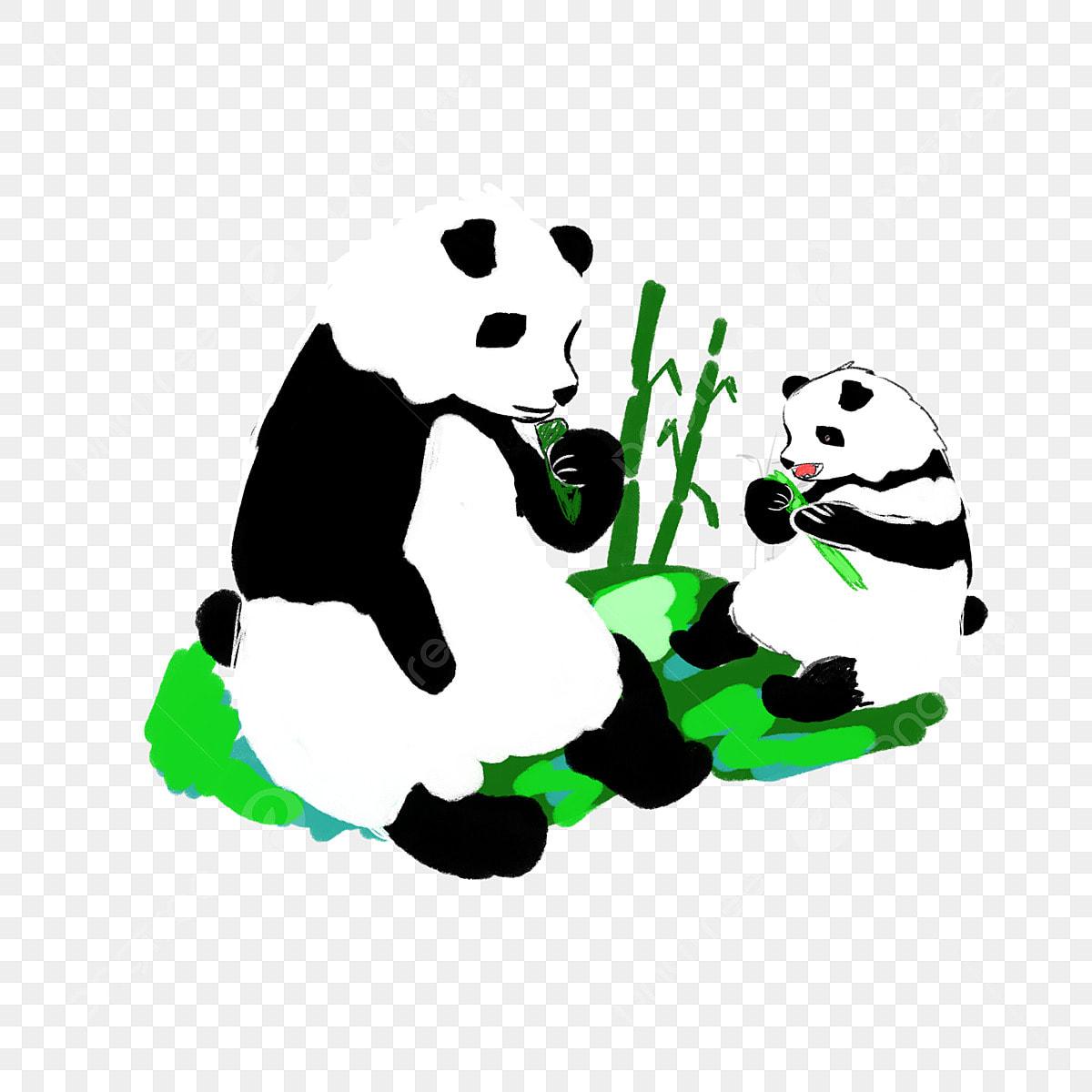 Gambar Panda Tangan Dicat Hari Ibu Panda Hitam Dan Putih Lidah Merah Anak Panda Kecil Comel Panda Hitam Dan Putih Png Dan Psd Untuk Muat Turun Percuma