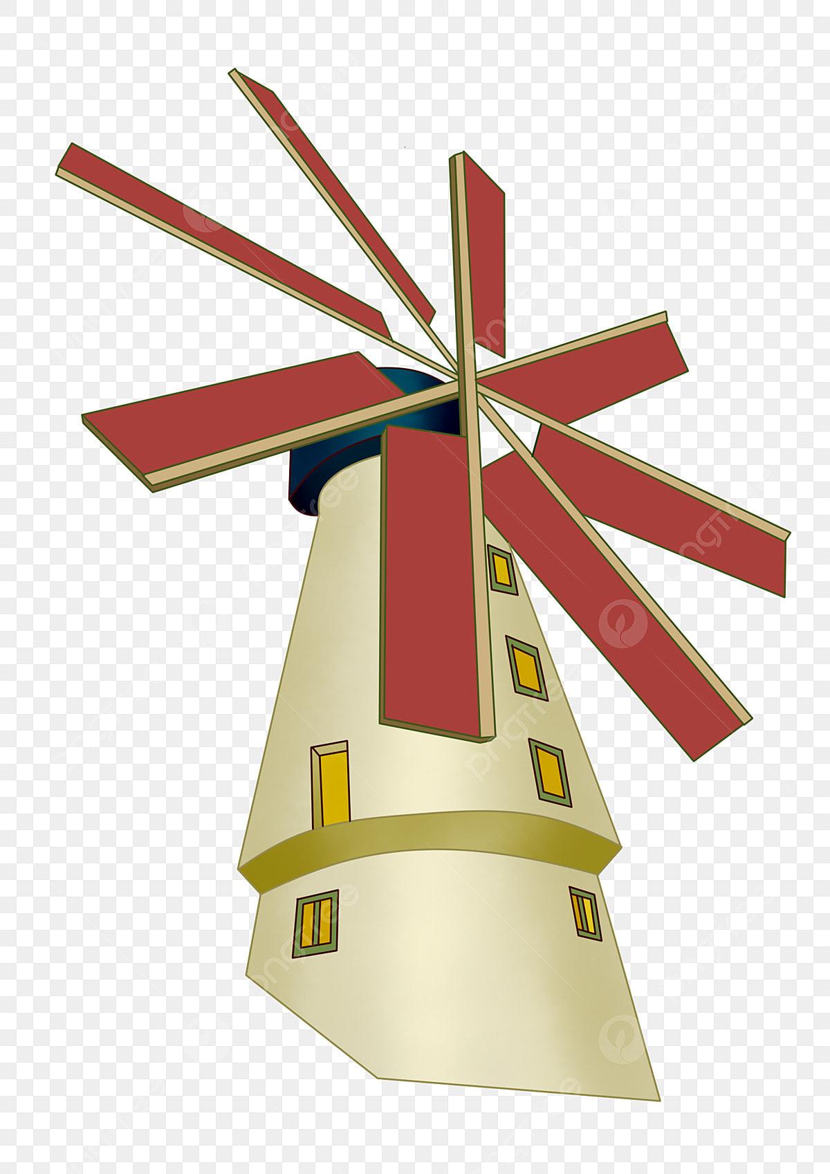 Red Fan Blade Windmill Ilration