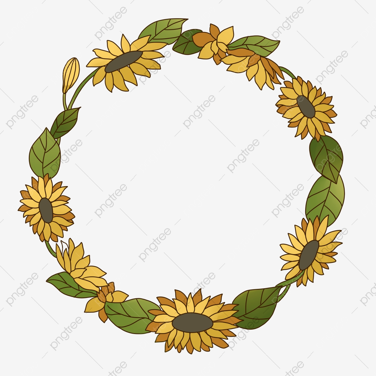 Yellow Sunflower Wreath Illustration Yellow Sunflower Yellow Flowers Flowers Png Transparent Clipart Image And Psd File For Free Download