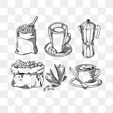 cartoon hand drawn coffee line art illustration, Coffee, Line, Cartoon PNG and PSD