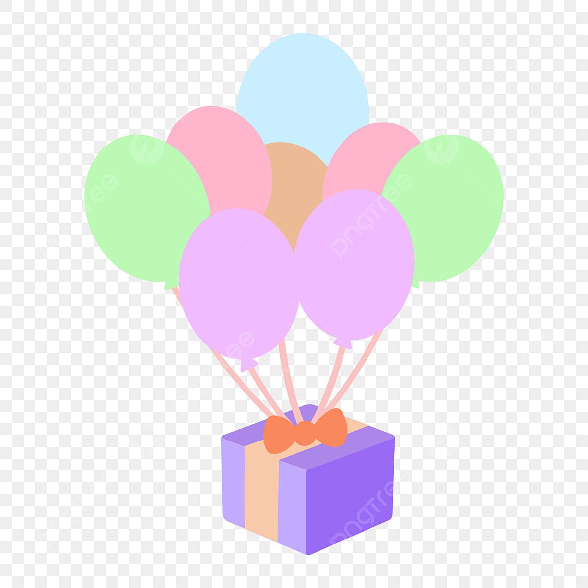 بالونات عائمة صندوق هدايا أرجواني زخرفة صندوق هدايا صندوق هدايا كارتون كذبة بالونات عائمة زخرفة صندوق هدايا Png وملف Psd للتحميل مجانا