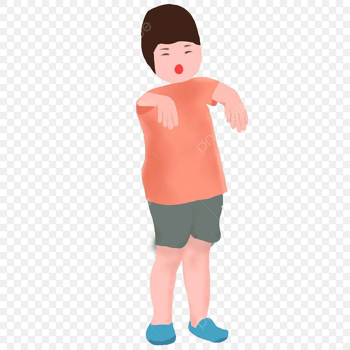 Garcon En T Shirt Rouge Short Dessin Anime Garcon Cheveux Courts