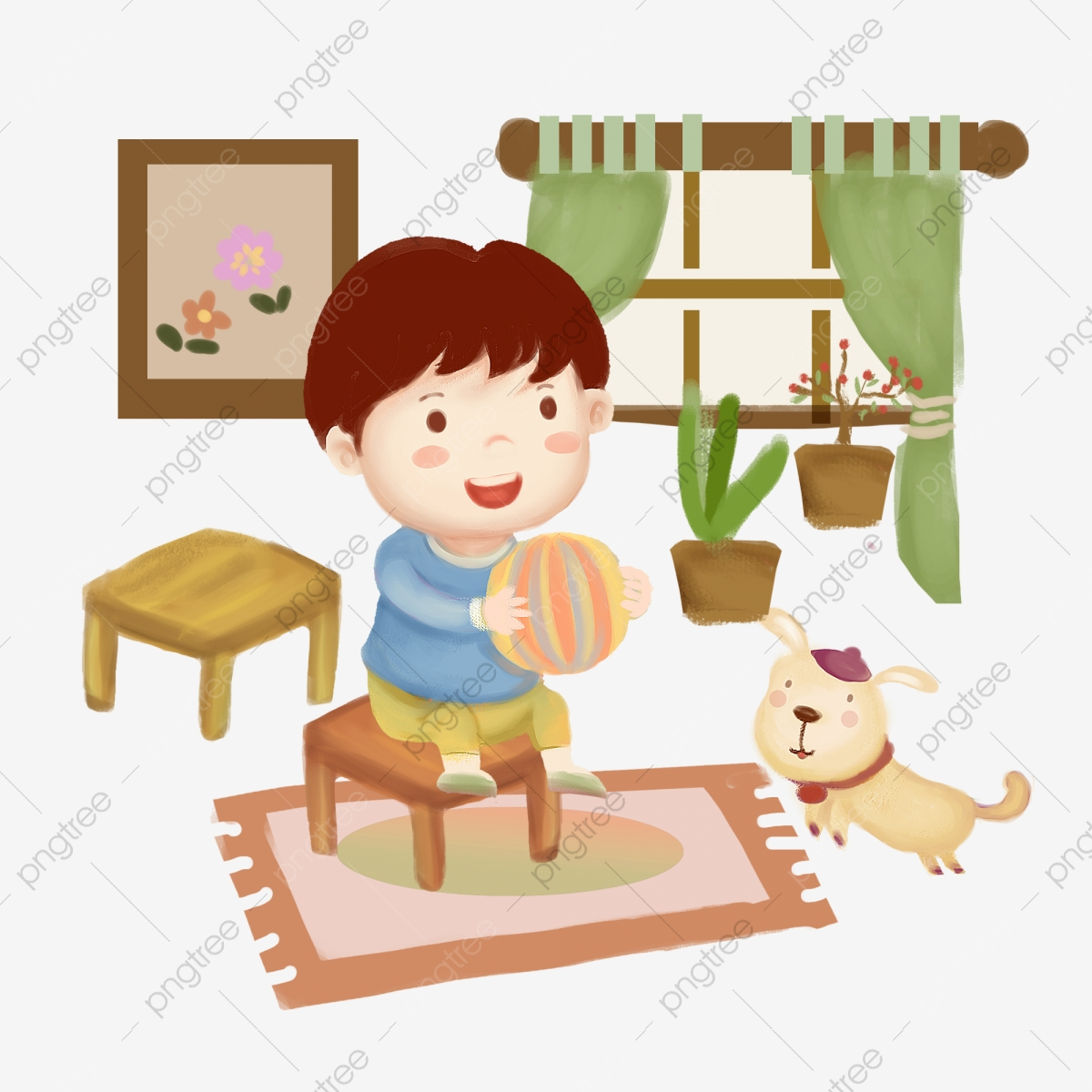 Boy Playing with Dog Clip Art