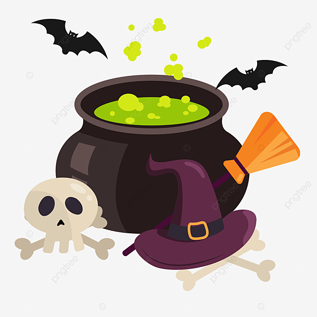 Green Flat Style Halloween Witch Magic Pot Soup Element