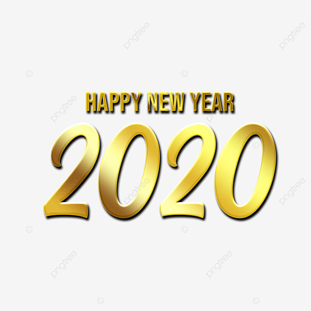 Happy New Year 2020 Text In Elegant Golden Luxurious Style