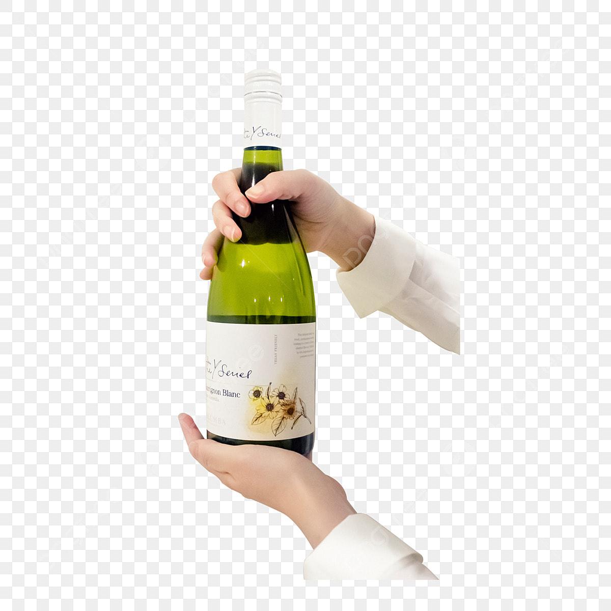 Tangan Memegang Minuman Botol Bir Dalam Minuman Tangan Wain Botol