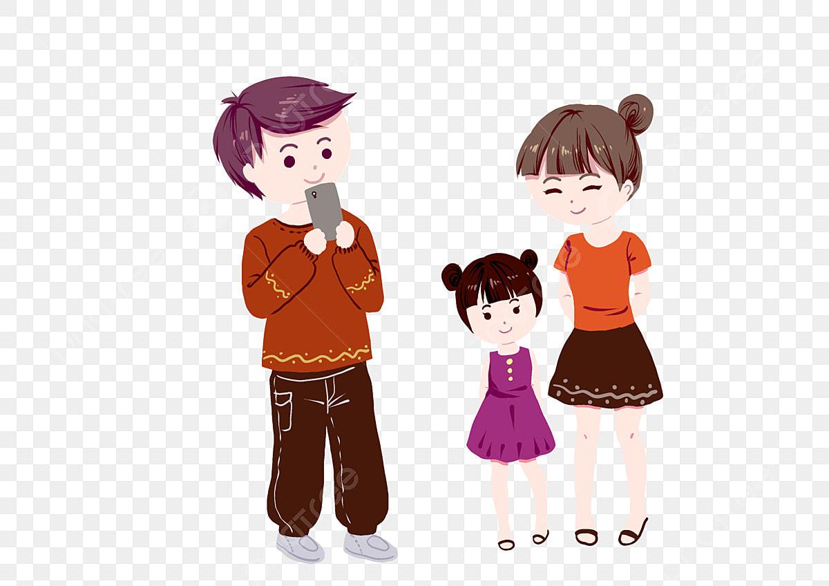 Keluarga Tiga Keluarga Keluarga Bapa Lucu Keluarga Tiga