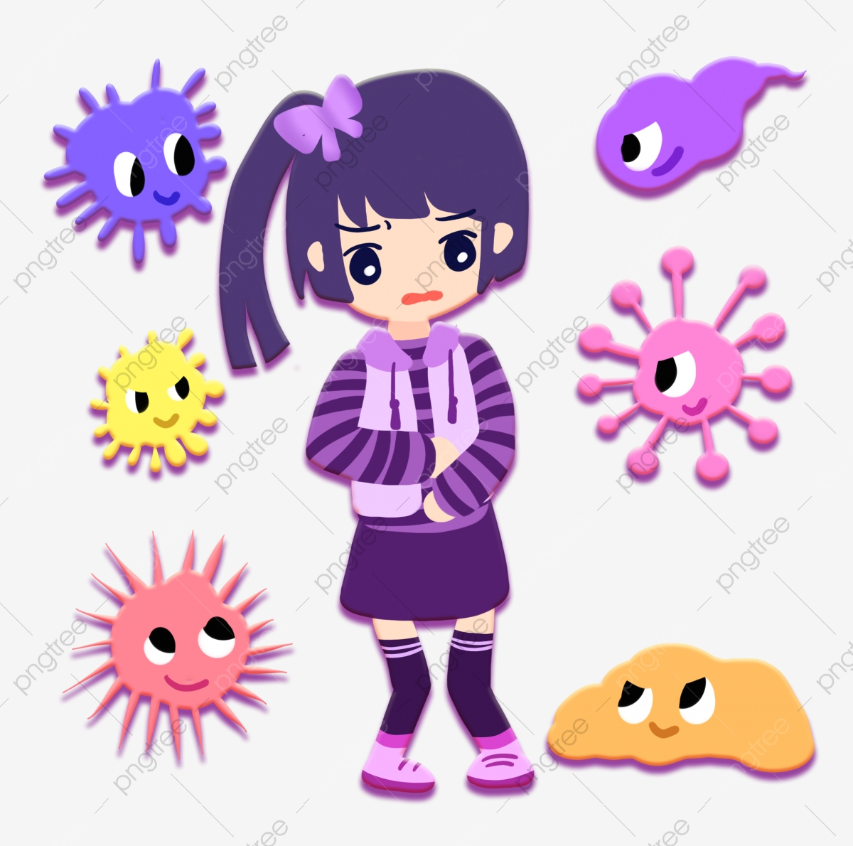 bacterial invasion girl stomachache bacteria cartoon stomach pain png transparent clipart image and psd file for free download https pngtree com freepng bacterial invasion girl stomachache 4623427 html