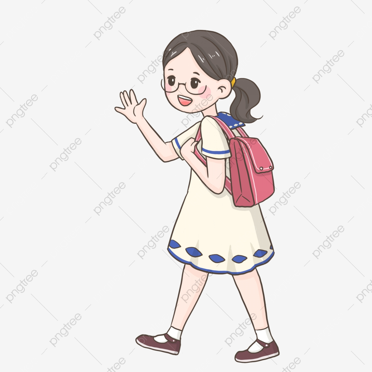 Bid Farewell To Parents Png School Season Students With Back Bags Children Png Transparent Clipart Image And Psd File For Free Download