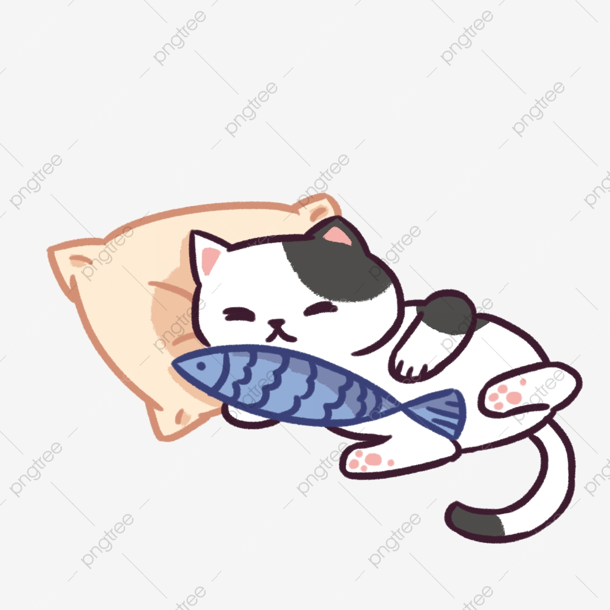 Black And White Sleeping Cat Illustration Sleeping Cat Blue Fish Cartoon Illustration Png Transparent Clipart Image And Psd File For Free Download