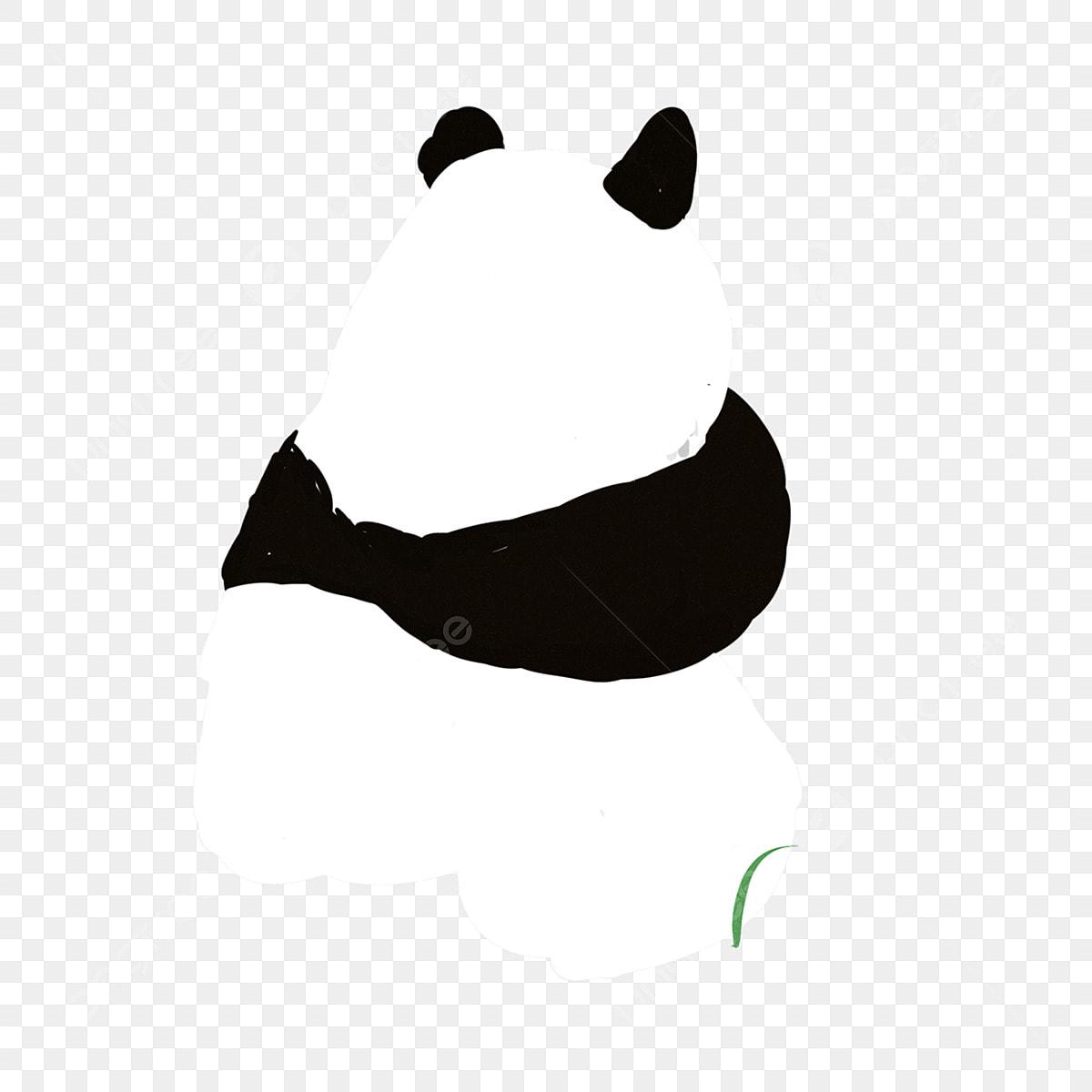 Panda De Dessin Animé Noir Et Blanc Dessiné à La Main De
