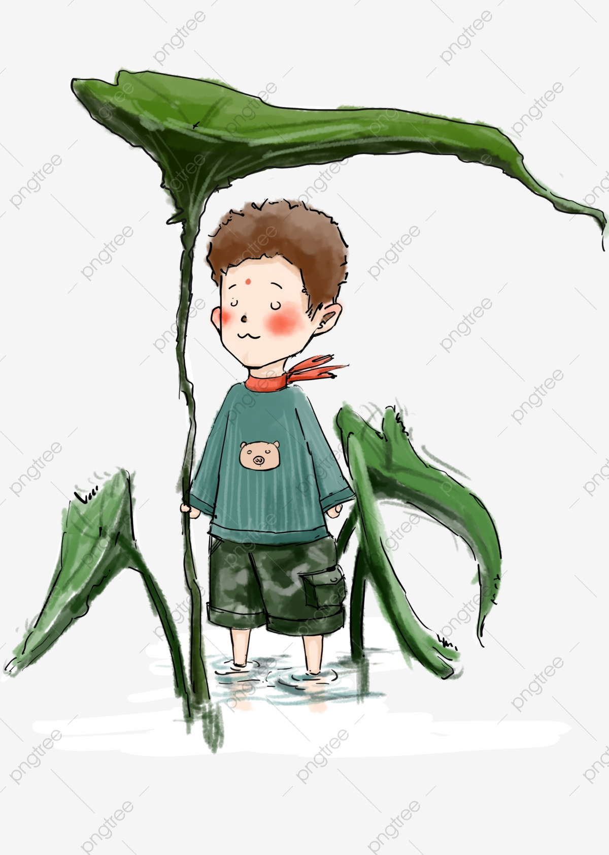 Cartoon Cute Little Girl Taking Lotus Flower Young Boy With Lotus Flower Cute Scene Villain Lotus Leaf Png Transparent Clipart Image And Psd File For Free Download