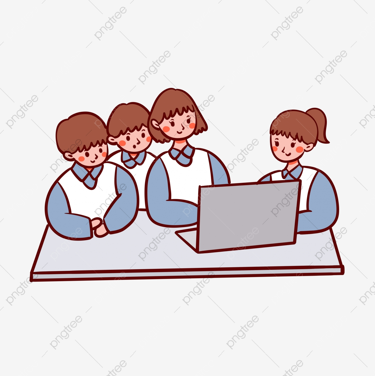 Cartoon Cute Vector Free Looking Computer Learning Student Cartoon Cute Vector Png Transparent Clipart Image And Psd File For Free Download