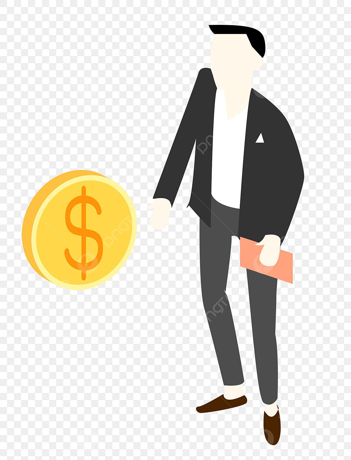 Gambar Kartun Perdagangan Kewangan Watak Lelaki Mengutip Wang Buku Catatan Peruntukan Aset Png Dan Vektor Untuk Muat Turun Percuma