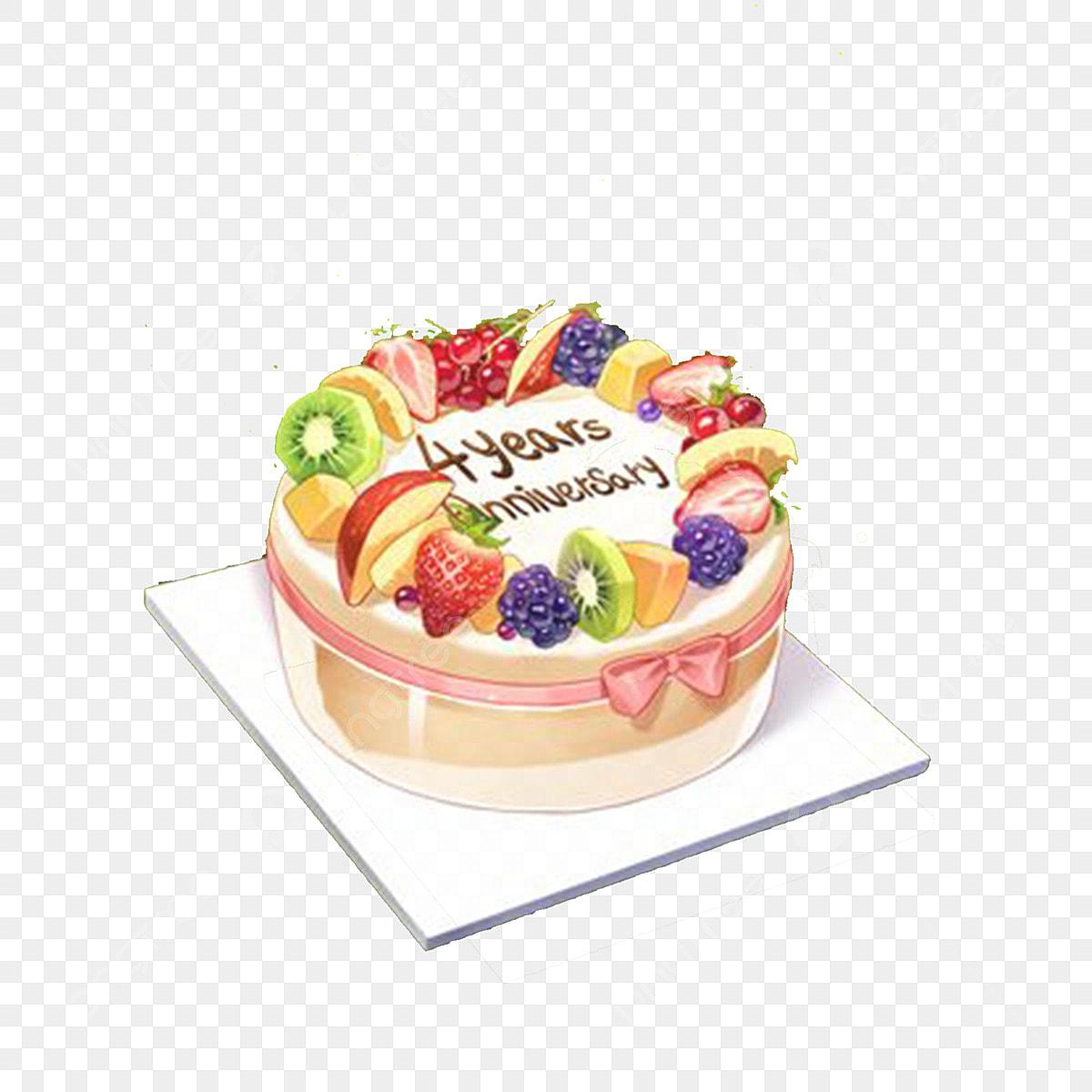 Wondrous Cartoon Fresh Fruit Cake Free Illustration Birthday Cake Fruit Personalised Birthday Cards Veneteletsinfo