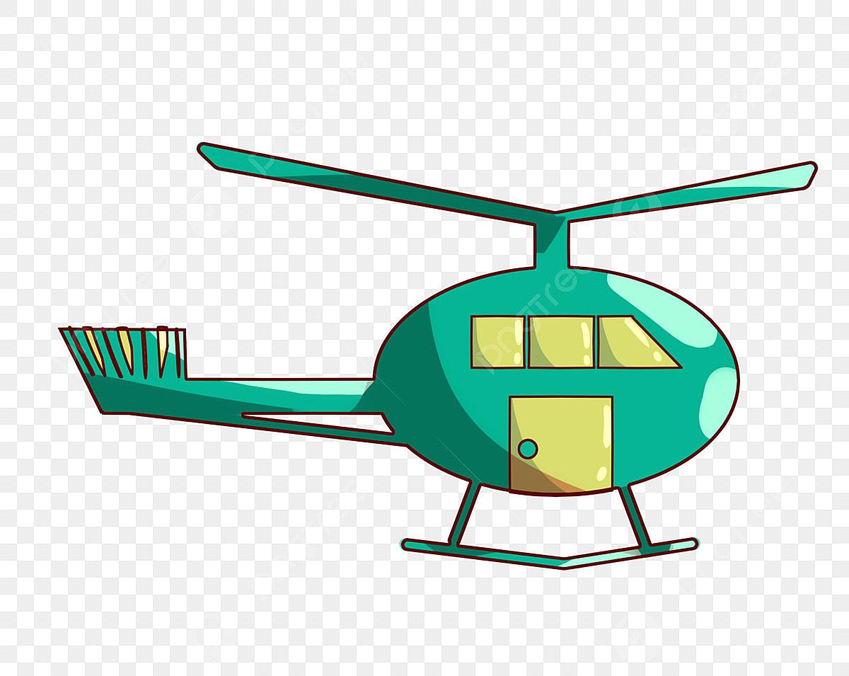 Helikopter Kartun Hijau Kipas Hijau Helikopter Hijau Kipas