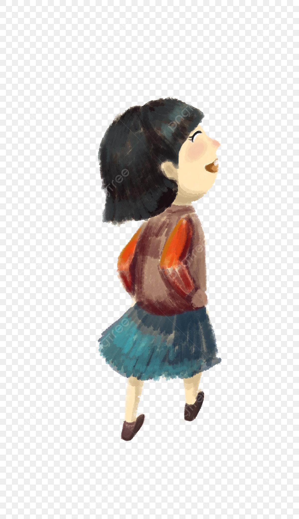 Cartoon Hand Drawn Short Hair Little Girl Cartoon Girl Hand