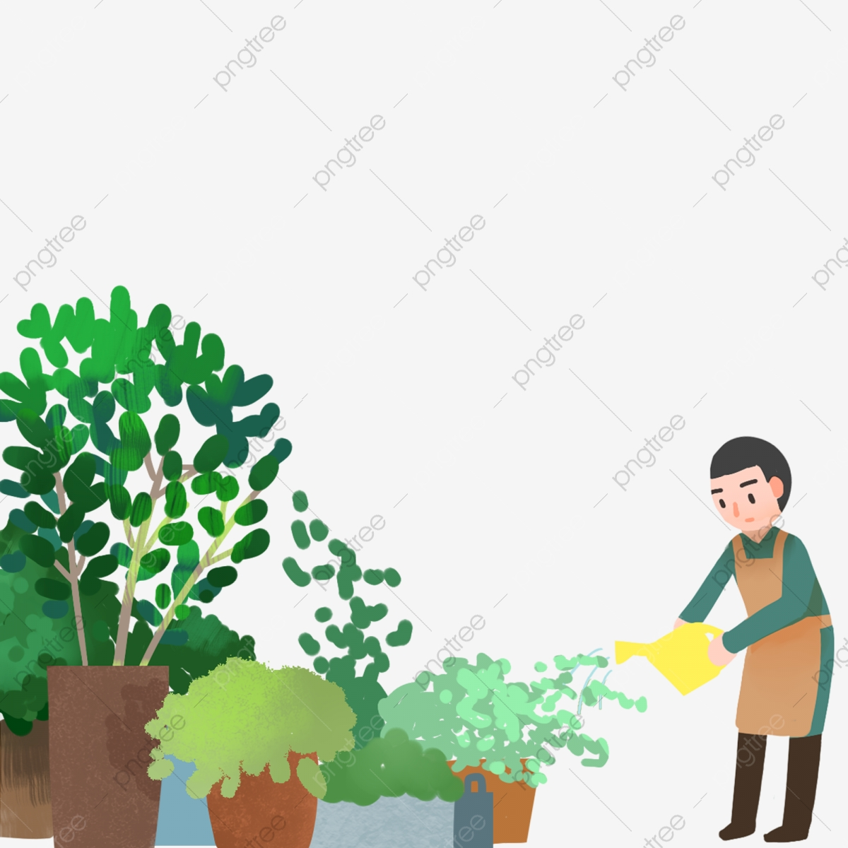 Cartoon Man Watering Work Boy Flower Pot Decoration Png Transparent Clipart Image And Psd File For Free Download