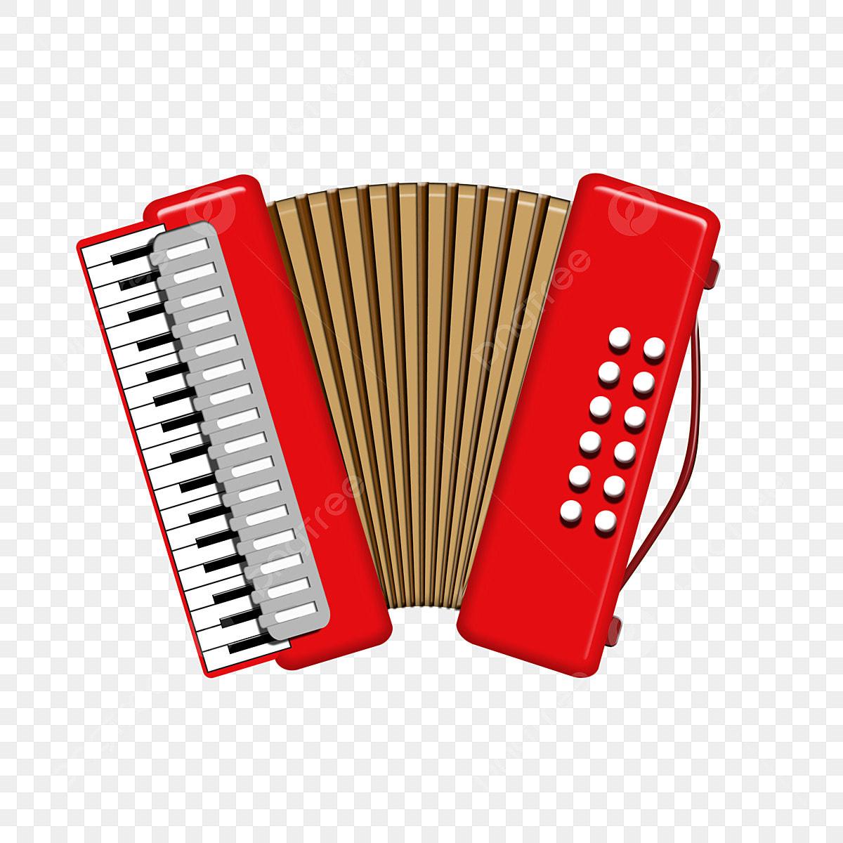 Dessin Animé Instrument De Musique Accordéon Rouge Créatif
