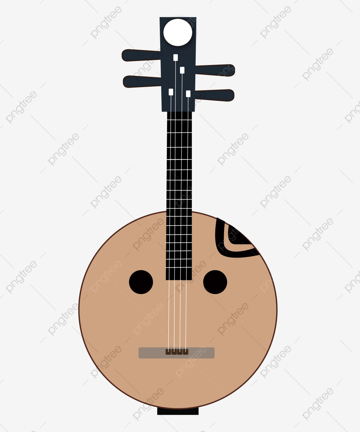 Cartoon Pipa Instrument Illustration Chinese Musical Instruments Yellow Bandits Traditional Musical Instruments Png And Vector With Transparent Background For Free Download