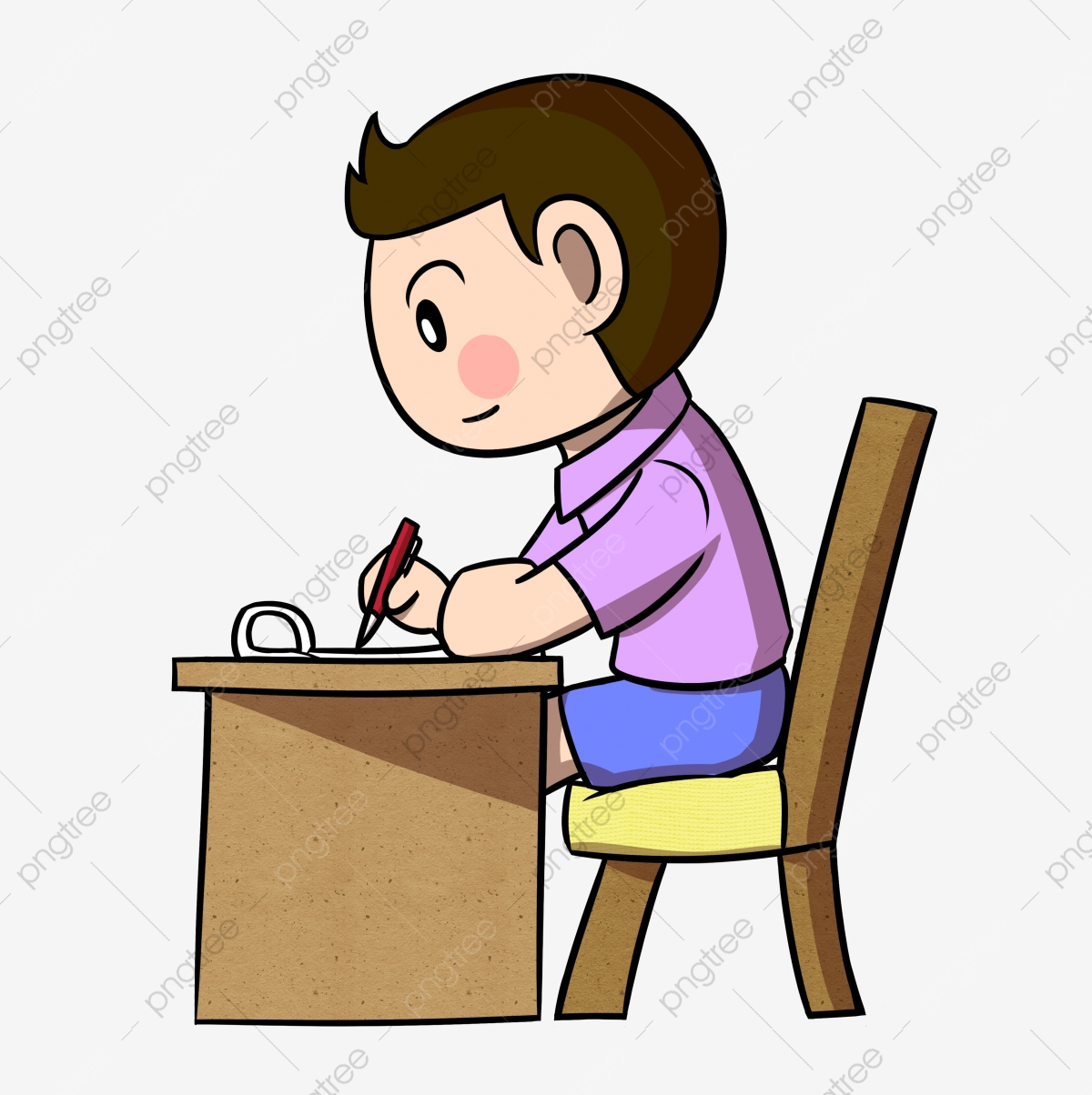 Cartoon Pupils Work Hard To Write Homework Png Transparent Bottom Cartoon Student Pupil Png Transparent Clipart Image And Psd File For Free Download
