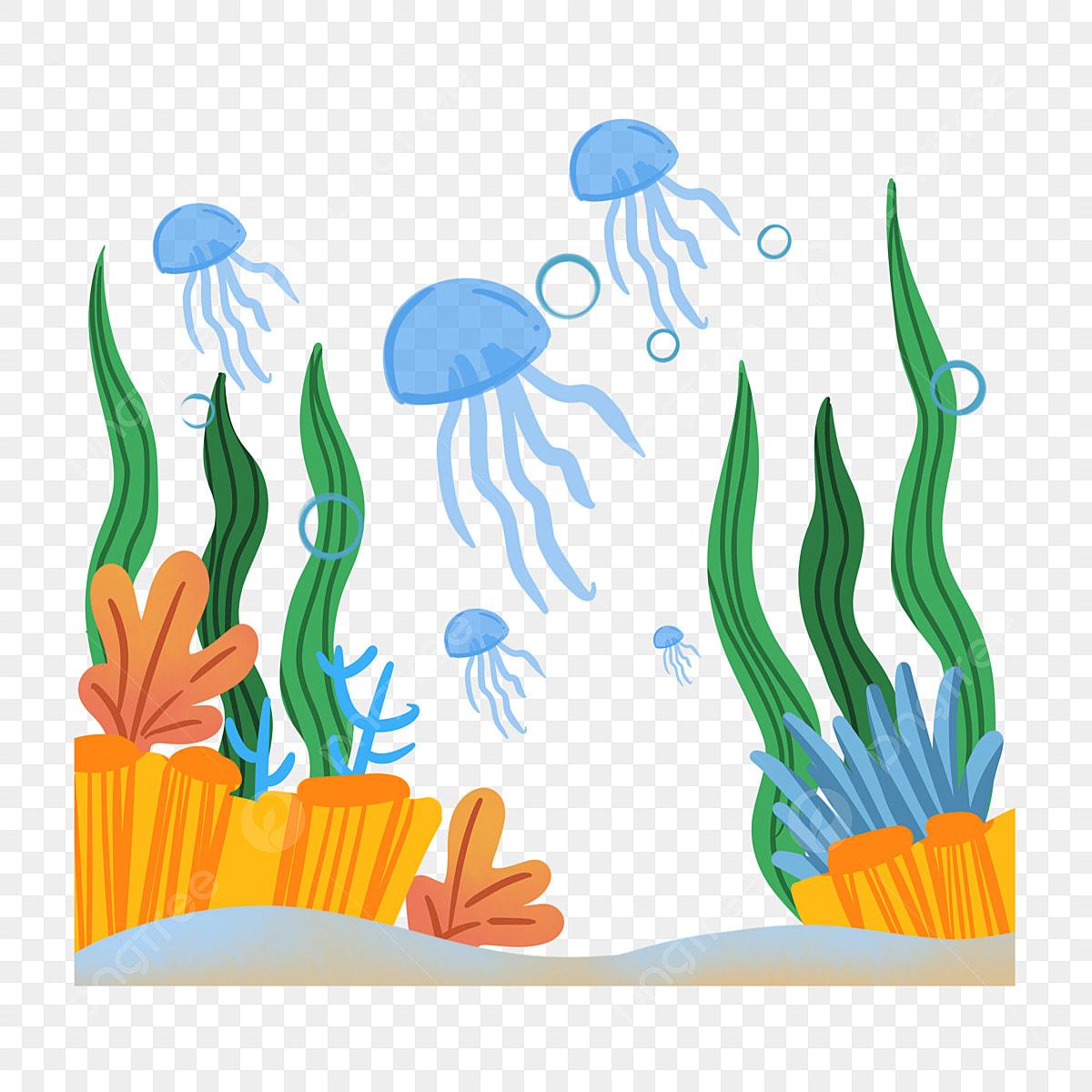 Kartun Kartun Dunia Bawah Air Dunia Bawah Laut Batu Rumput