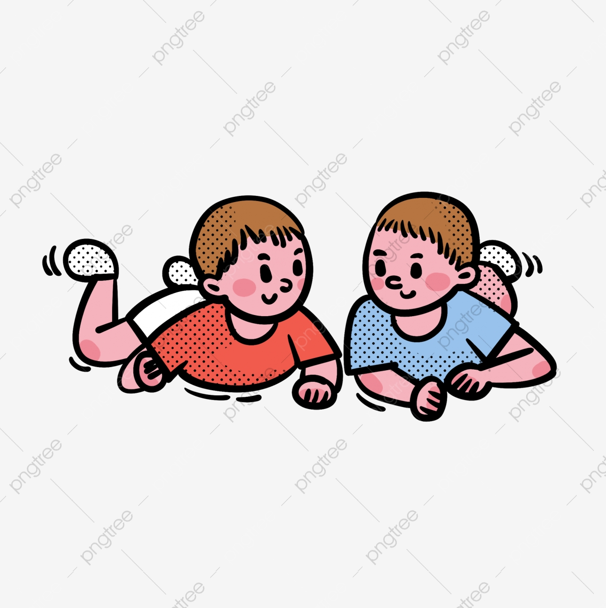 Cartoon Vector Free Cute Two Squatting Baby Babies Cartoon Vector Free Png Transparent Clipart Image And Psd File For Free Download