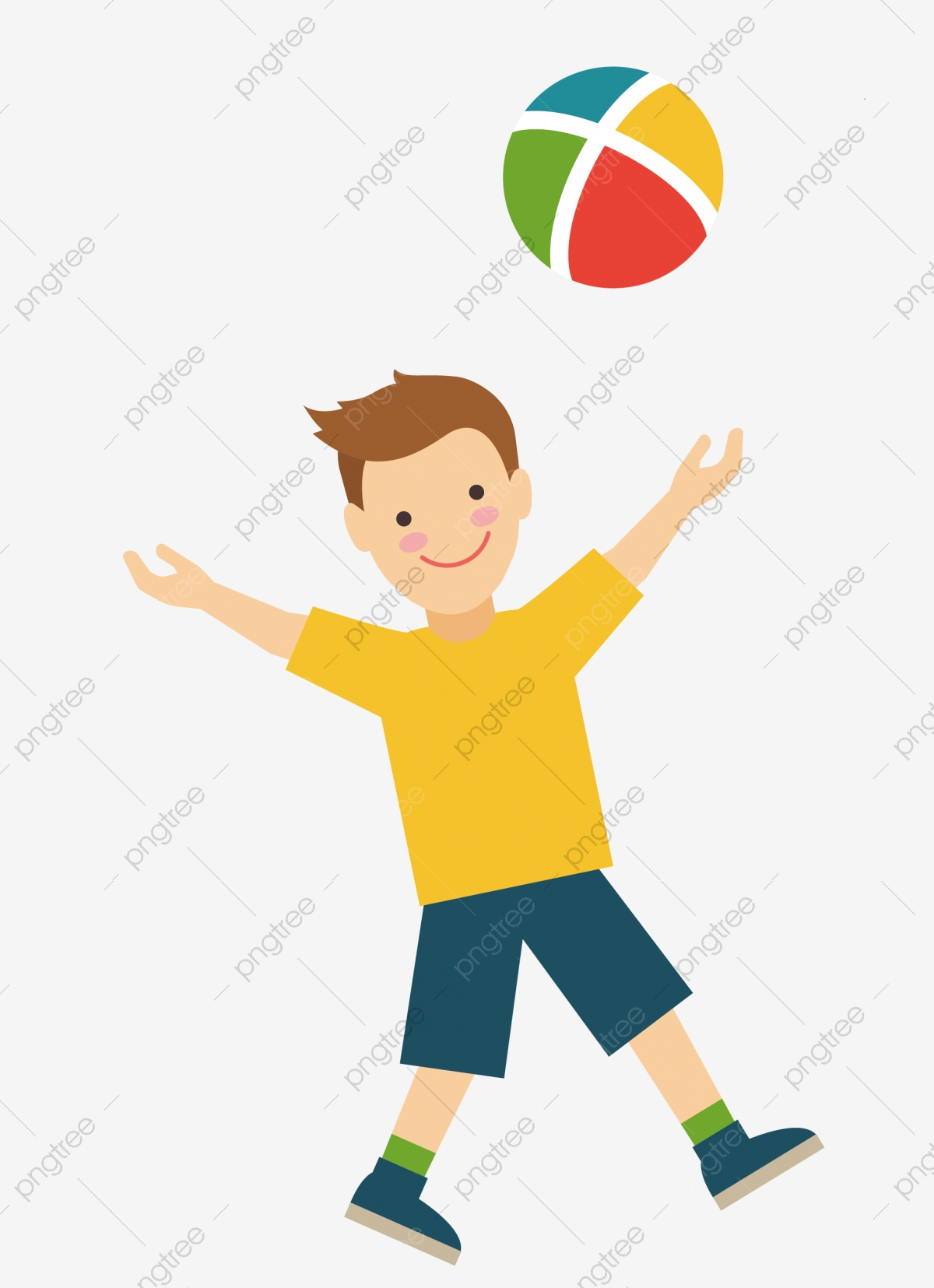 Boy Playing with Ball Clip Art