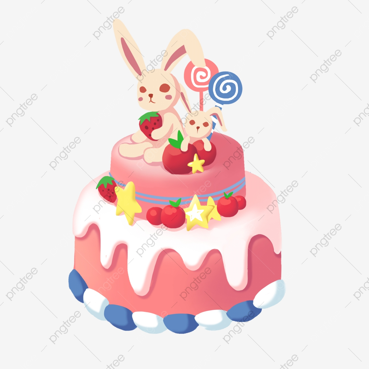 Prime Cute Bunny Cake Illustration Cute Cake Bunny Cake Strawberry Personalised Birthday Cards Beptaeletsinfo