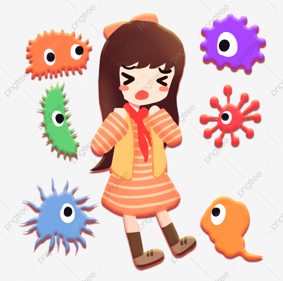 Girl Scared Of Bacteria Surrounded, Bacteria, Cartoon, Nuclear PNG  Transparent Clipart Image and PSD File for Free Download