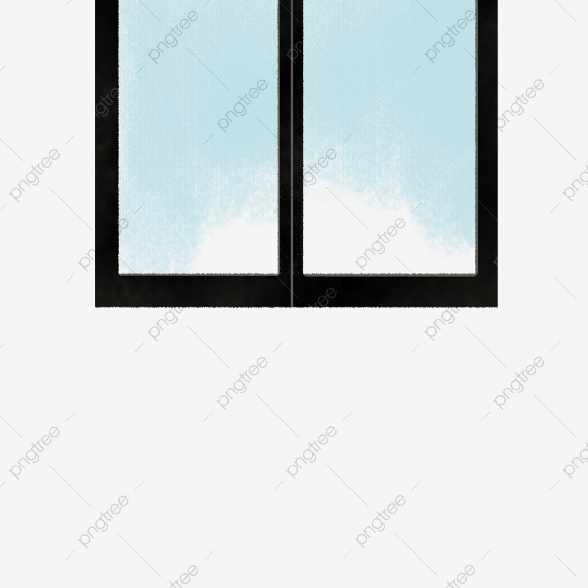 Gambar Tingkap Kaca Biru Hitam Kartun