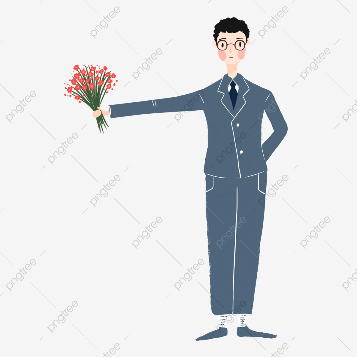 Groom Holding A Bouquet Taking Cartoon Groom