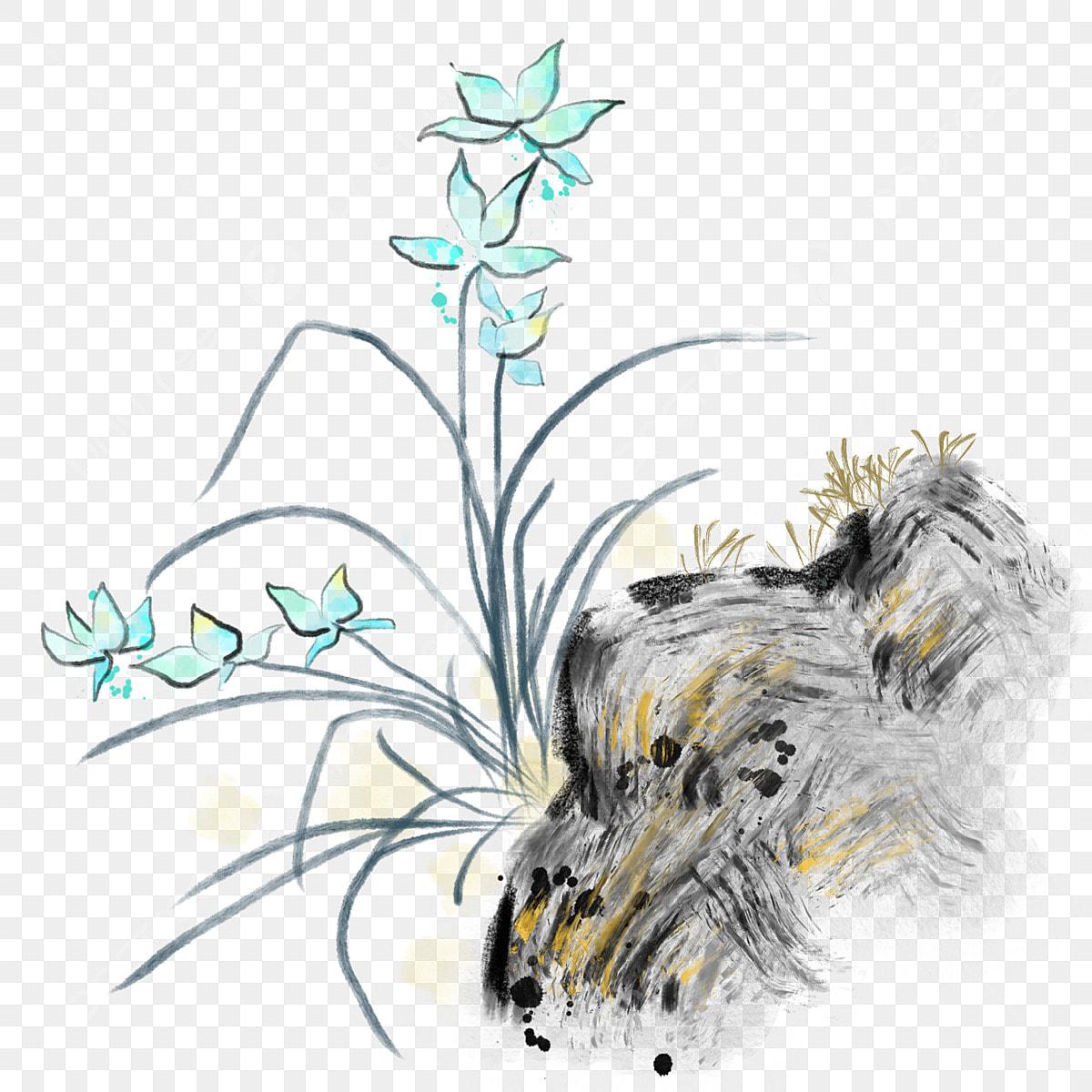 Orchidée Bleue Illustration De Dessin Animé Illustration D