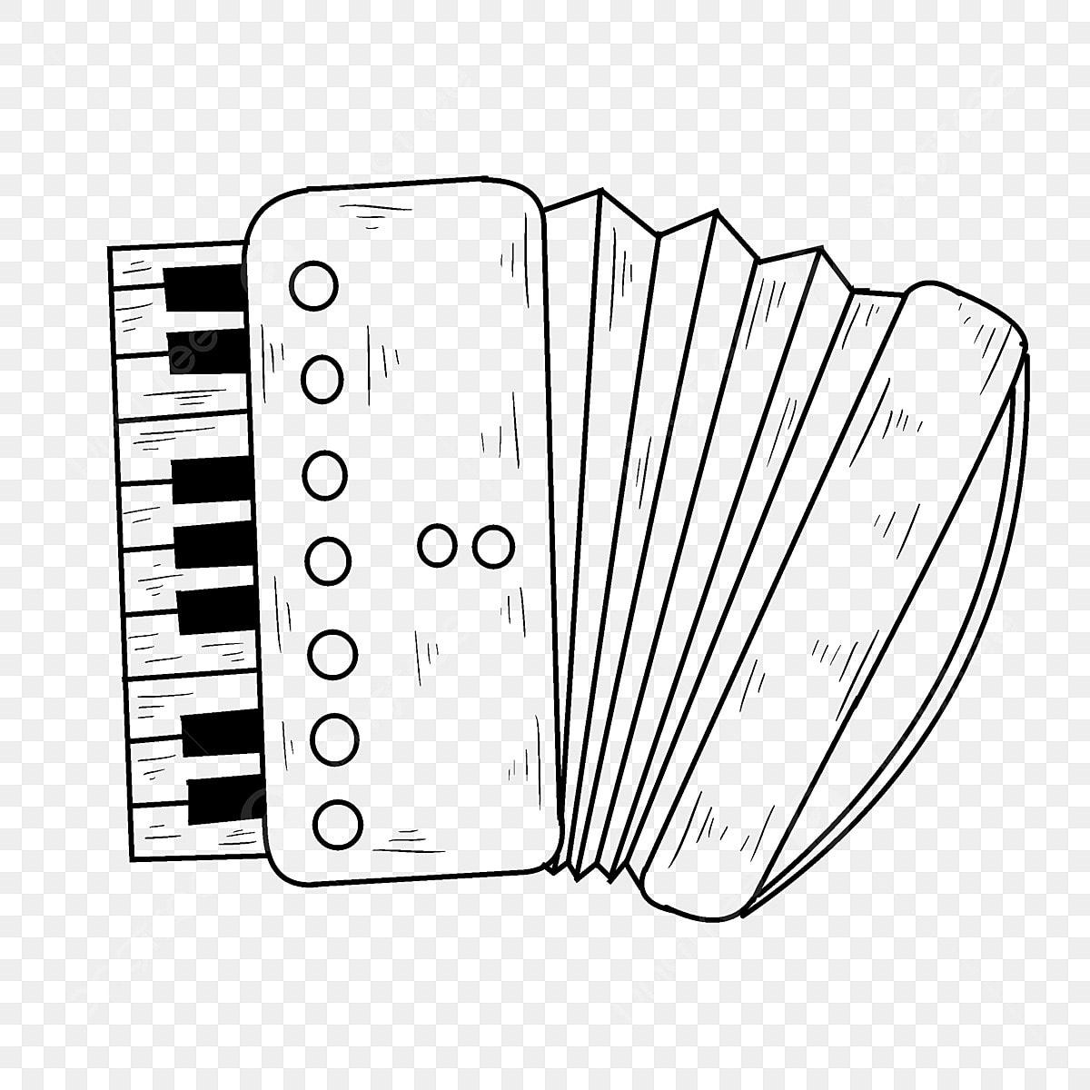 Accordéon Dessin Au Trait Instrument De Musique Clé Noir Et