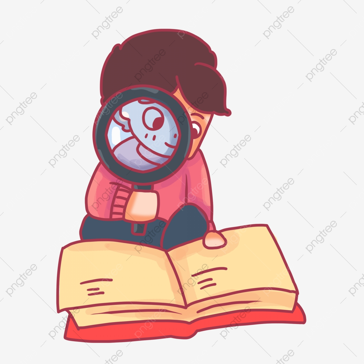 Image result for magnifying glass book cartoon