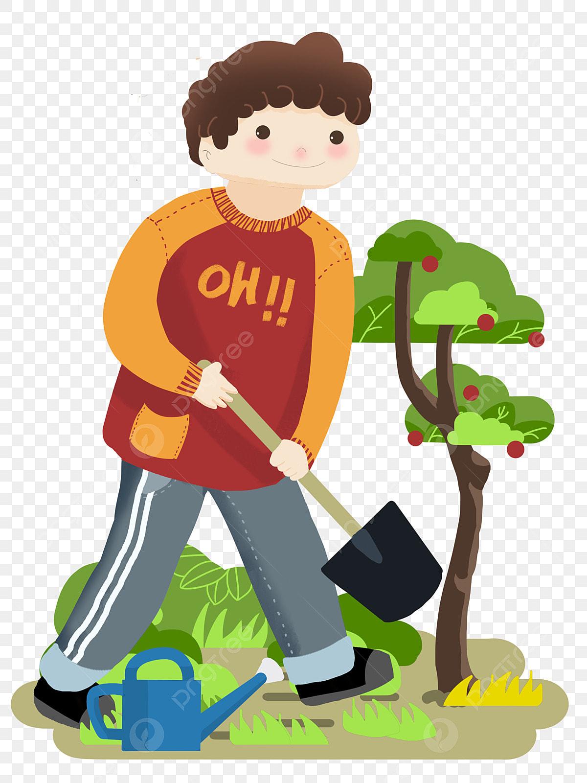 صورة شخصية يوم الشجرة صبي صغير يزرع شجرة مجرفة سوداء أشجار خضراء شجرة أشجار خضراء مجرفة سوداء Png وملف Psd للتحميل مجانا