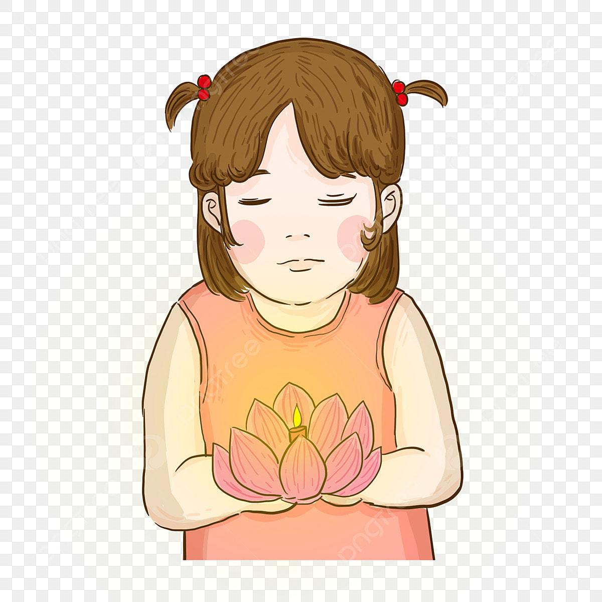 Kartun Gadis Dengan Tanglung Air Butang Gadis Kecil El