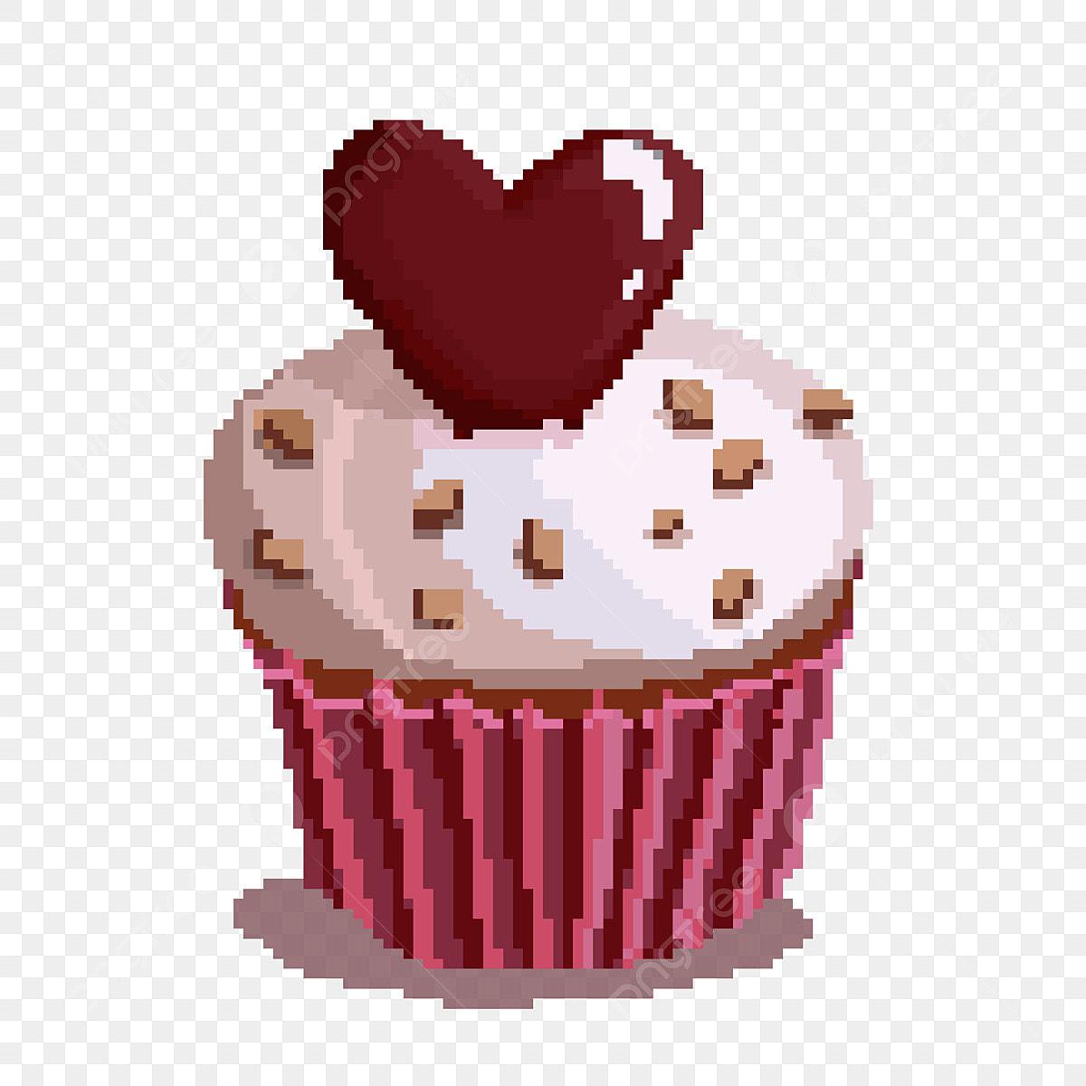Chocolat Peinture Au Pixel Gâteau Damour Illustration