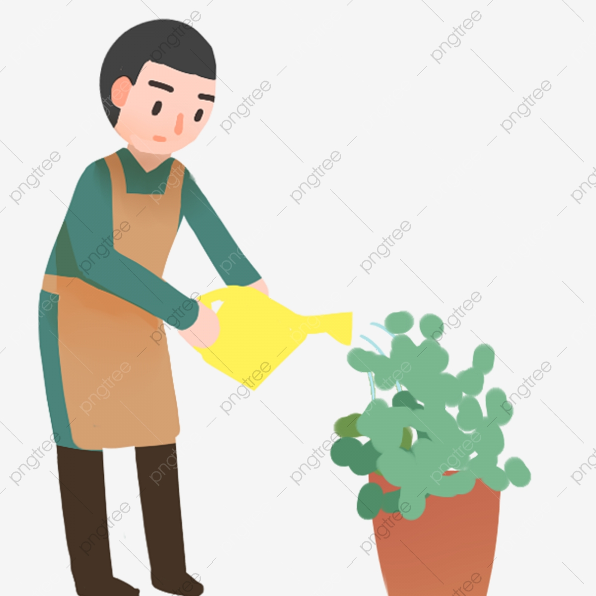 Man watering plant. Clipart | k37320510 | Fotosearch
