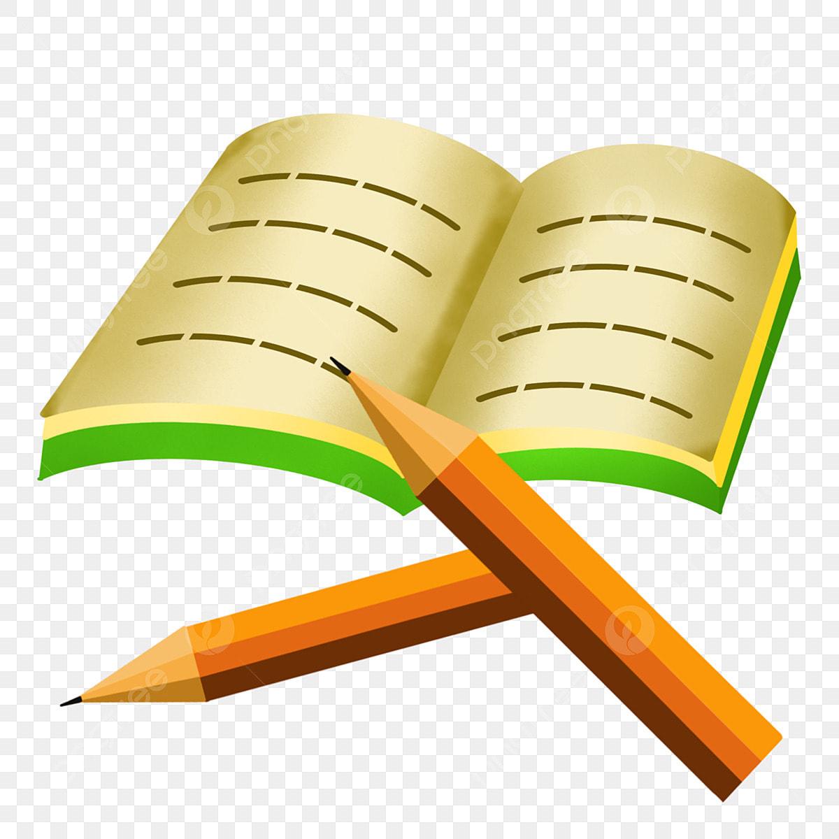 كتاب مفتوح قلم رصاص رسم قلمان كتاب رسم لوازم مدرسية Png وملف Psd للتحميل مجانا