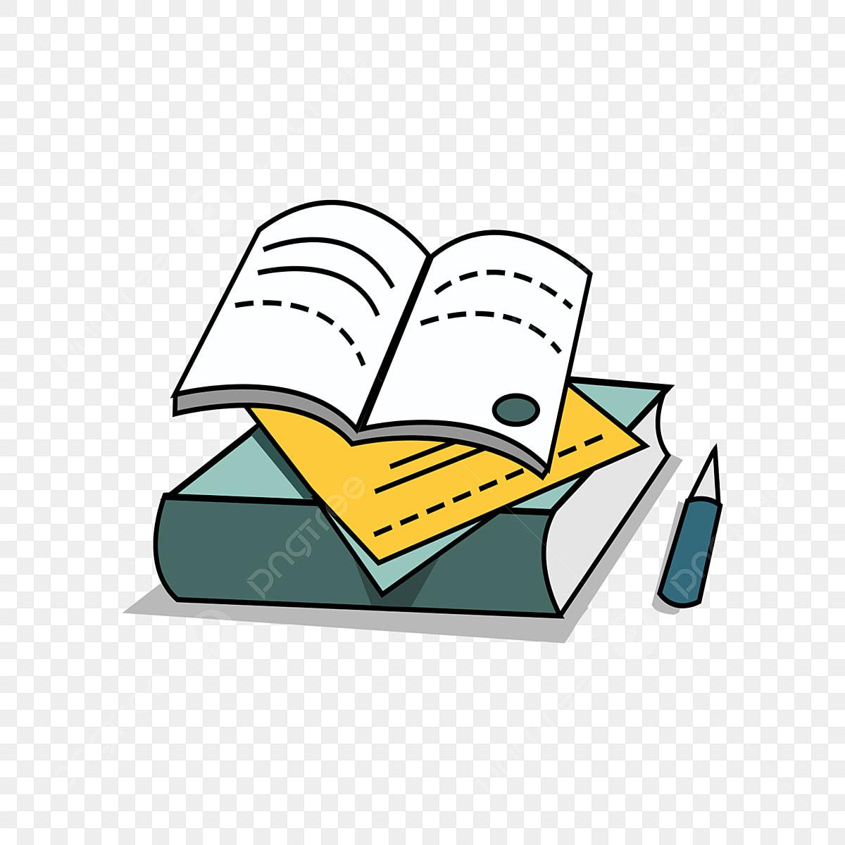 كومة من الكتب كتاب مفتوح رسوم متحركة مرسومة باليد قلم رصاص كومة من الكتب الكرتون خطوط Png وملف Psd للتحميل مجانا
