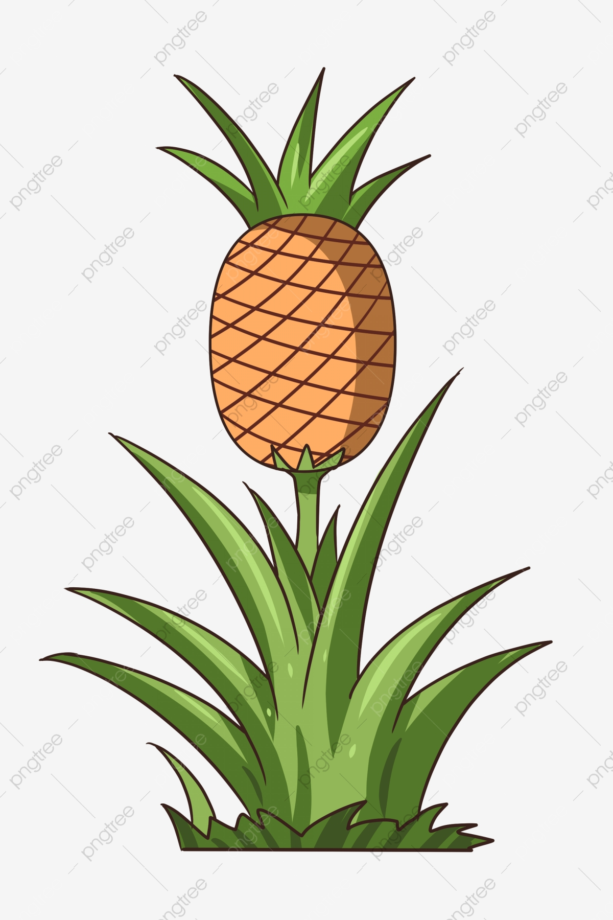 Pineapple Tree Cartoon Plant, Glass Tree, Plant, Fruit ...