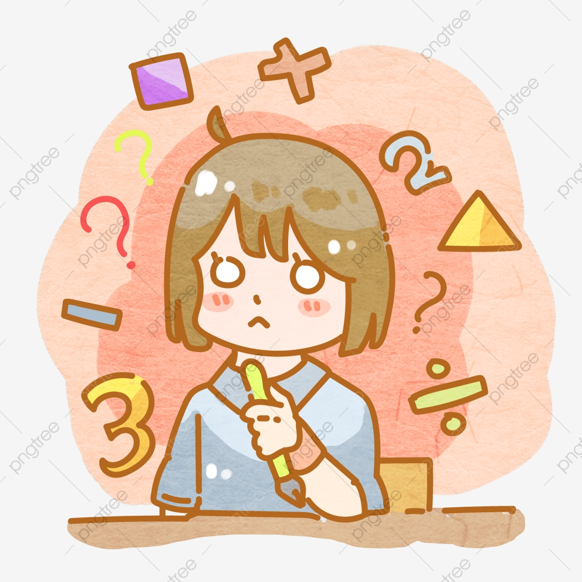 Question Mark Thinking Math Problem Girl Png, Girl, Question Mark