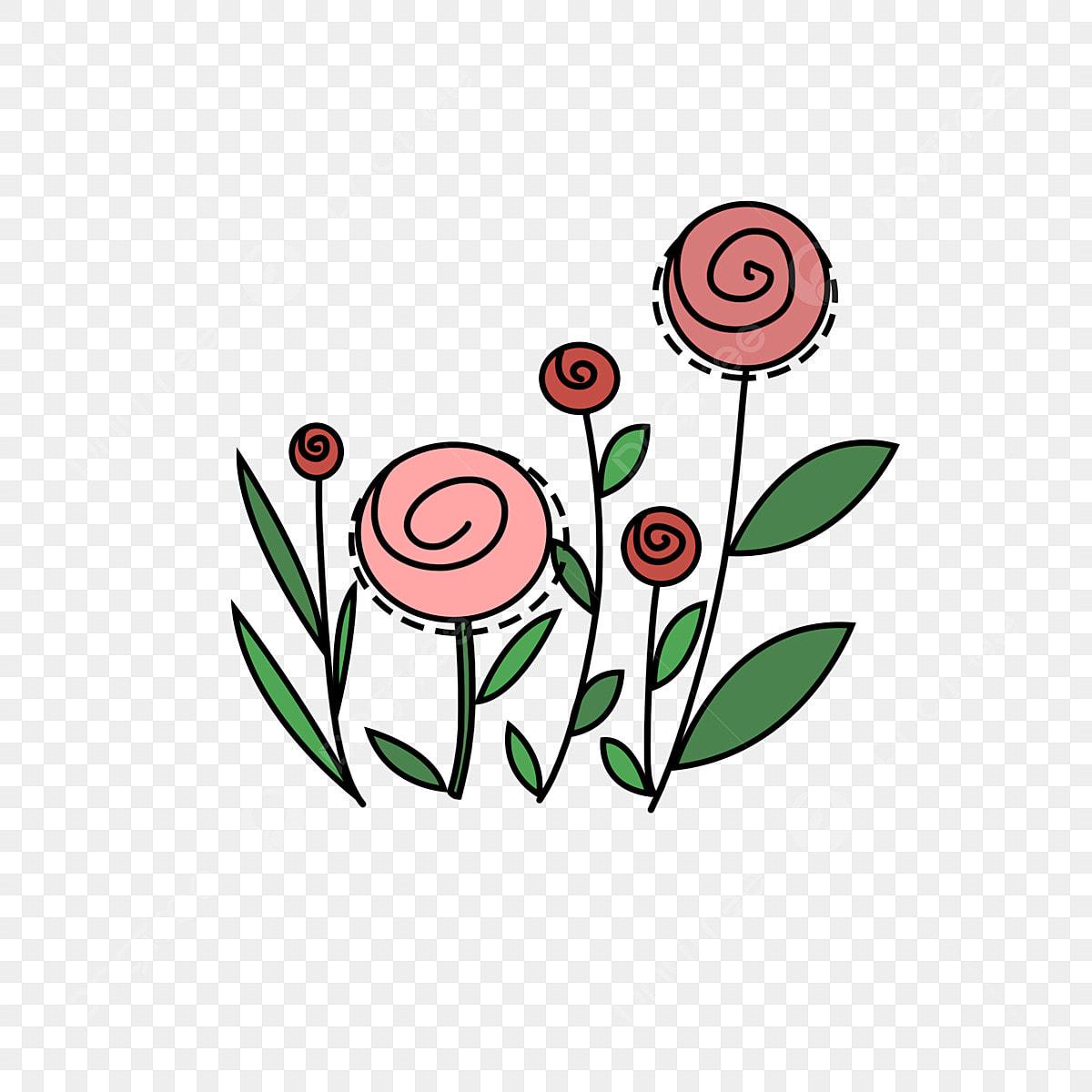 Bunga Mawar Kecil Segar Seni Ringkas