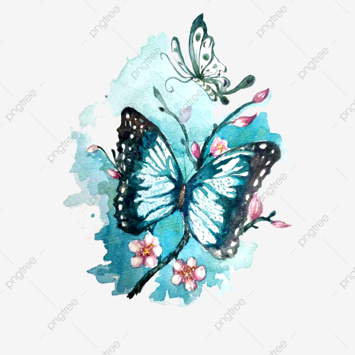 Sakura Butterfly Blue Aesthetic Decoration Png Pig Year Watercolor Safflower Png Transparent Clipart Image And Psd File For Free Download